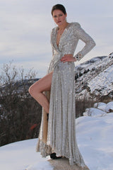 silver sequin gown