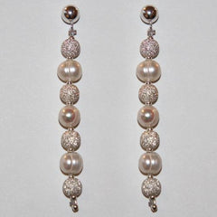 stardust and freshwater pearl earrings made in usa