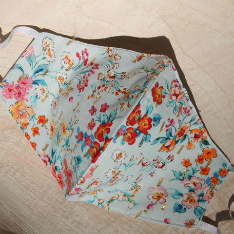 Vibrant Summer Florals 100 Percent Cotton Voile Mask