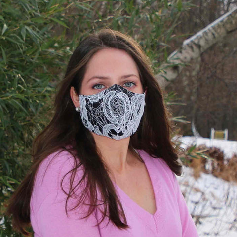 White Lace Over Black Silk Nonsurgical Cloth Mask