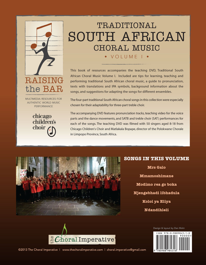 Raising The Bar Traditional South African Choral Music Volume I Book Dvd