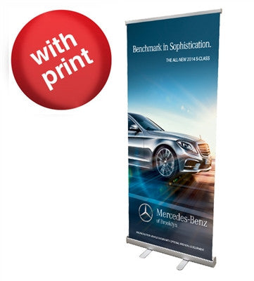 "Retractable Roll Up Banner Stand 33"" with Vinyl Print - Urban Square Displays"