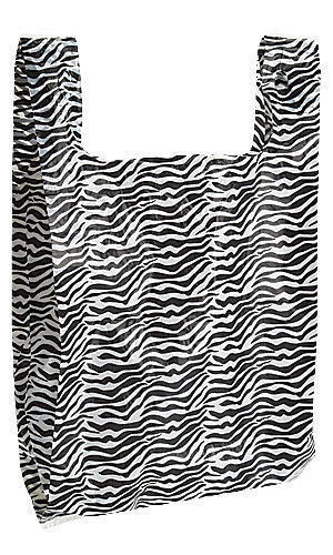Zebra Print Plastic Bags With Handles - Urban Square Displays