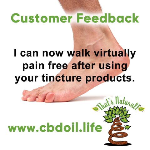 """I can now walk virtually pain free after using your tincture products. ""That's Natural is dedicated to producing high-quality cannabinoid and terpenes-rich products that are packed full of life-force.  People actually notice a difference with our products - that is because we take the extra time and attention that is necessary to make sure that our customers only get the best.  See more about our company and success stories at www.cbdoil.life and @cbdhempoil  #Pain #painfree #essentialoils #menshealth #womenshealth #natural #holistic #holistichealth"