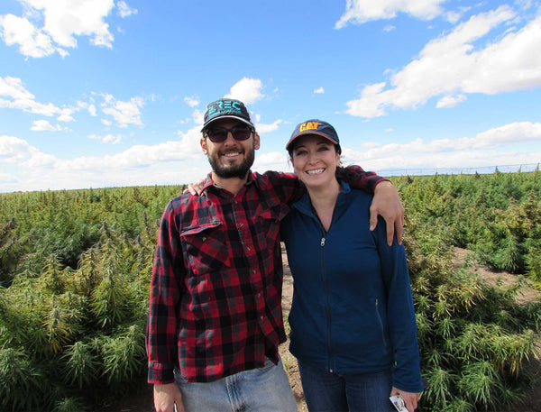 Tisha Casida, CEO of That's Natural with Colorado hemp farmer Michael Rivera in the San Luis Valley