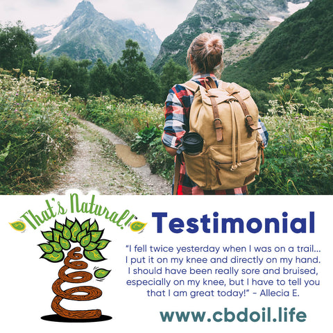 Testimonial for That's Natural CBD Oil - CBD for pain, CBD for brushing, CBD for injuries - Thats Natural CBD oil drops - true full spectrum hemp-derived CBD oil at www.cbdoil.life and cbdoil.life - more CBD testimonials for the highest quality Cannabidiol Oil from hemp at www.thatsnatural.info