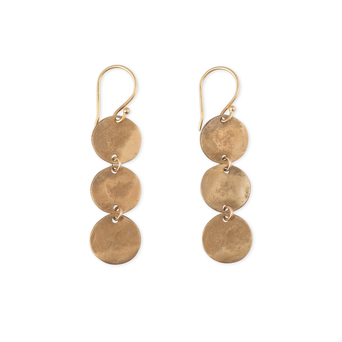 Goddess Earrings handcrafted 3 hammered discs by Kristen Mara