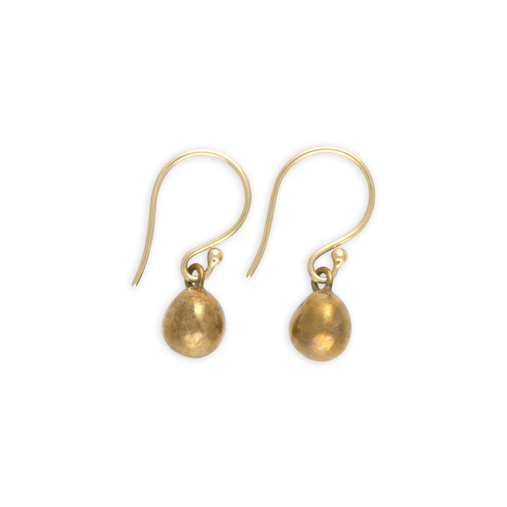 Earrings_Sterling_Silver_Bronze_Nugget_Ball_Drop_Handcrafted_Sphere