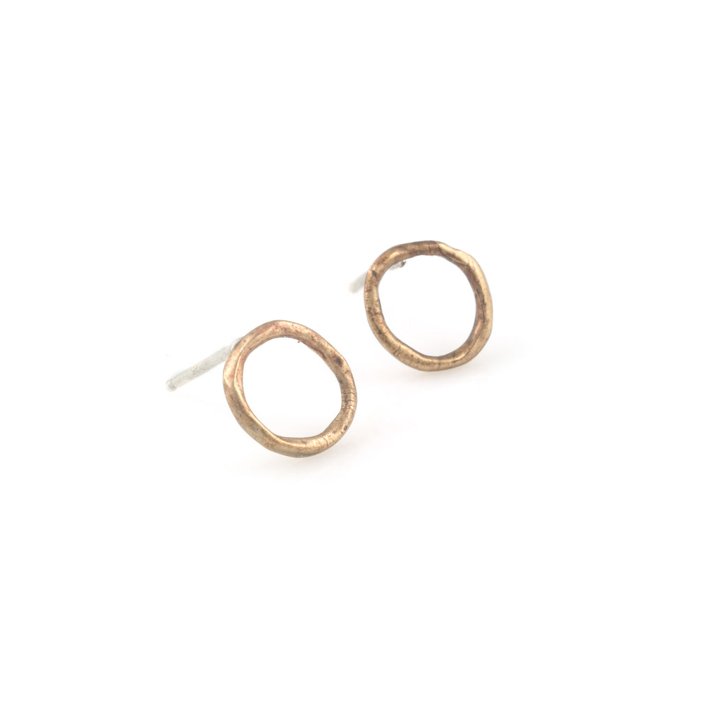 Stud-Earrings-Made-in-Amercia-Circle-Silver-Bronze-Small