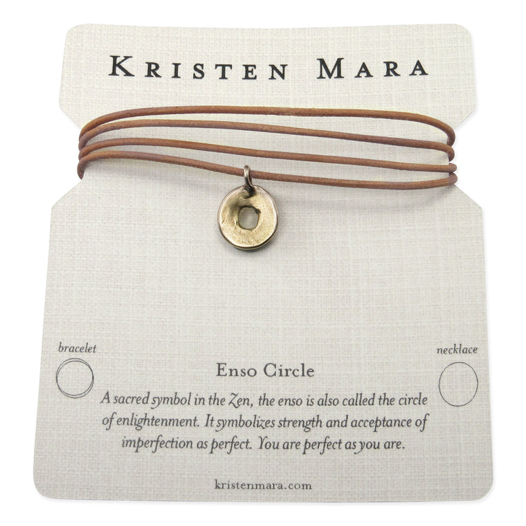 Enso Circle Leather Necklace or Wrap Bracelet