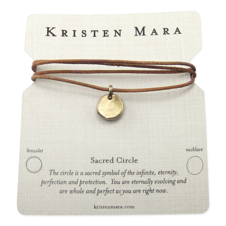 Sacred Circle bronze necklace or wrap bracelet leather inspirational quote card
