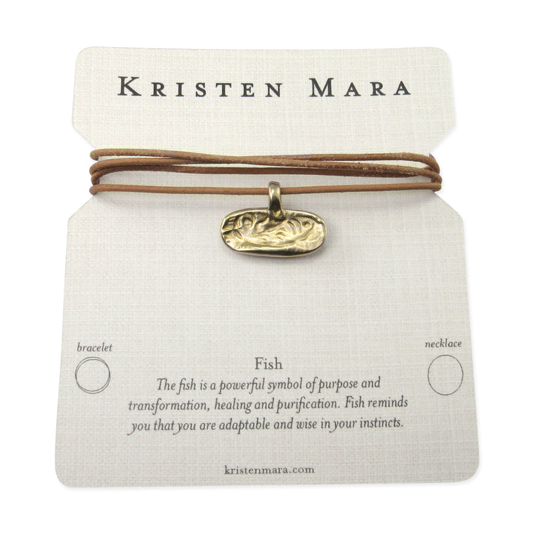 Fish impression bronze pendant leather necklace or wrap bracelet inspirational quote card