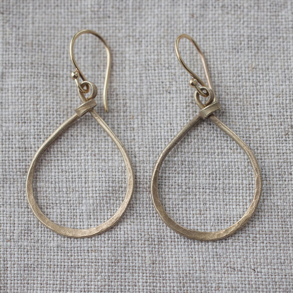 Sterling-Silver-Hoop-Earrings-Bronze-Hammered-Teardrop