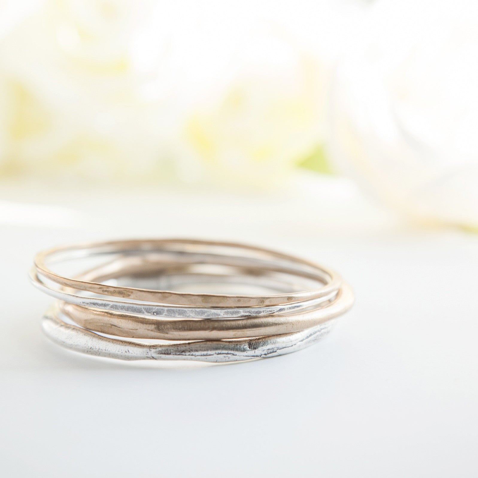 American-Jewelry-Handcrafted-Oval-Bangles-bracelet-silver-bronze