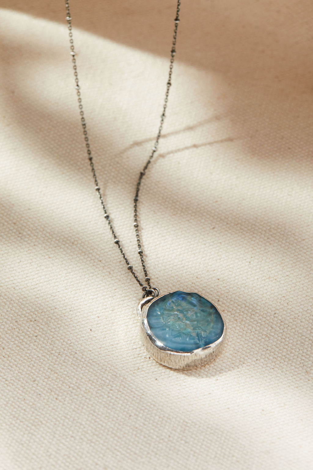 Capri Blue Opal Pendant Necklace - Sterling silver, lamp work glass