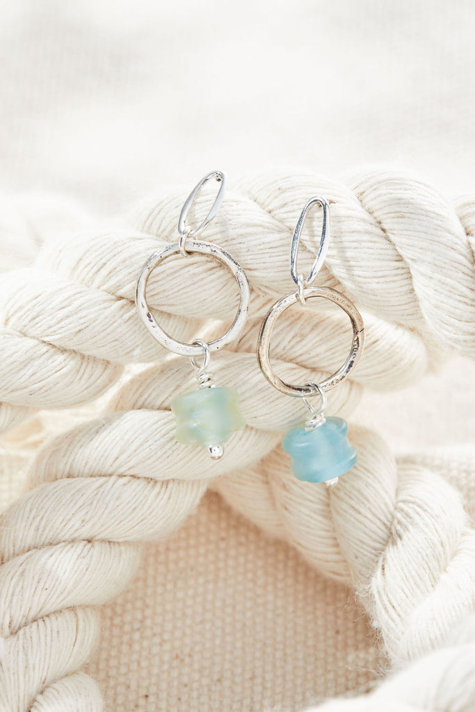 Capri Blue Opal Earrings - Lamp work glass, sterling silver