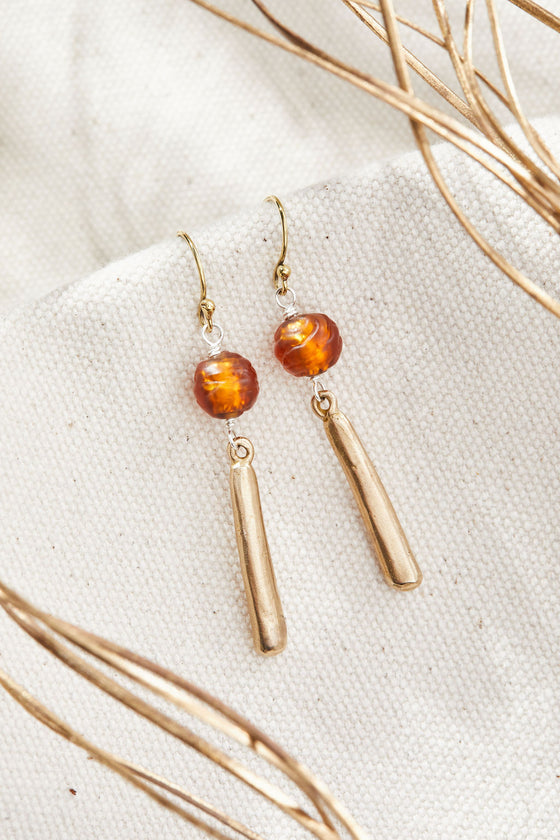 Fire Amber Serenity Earrings - Lamp work glass, bronze