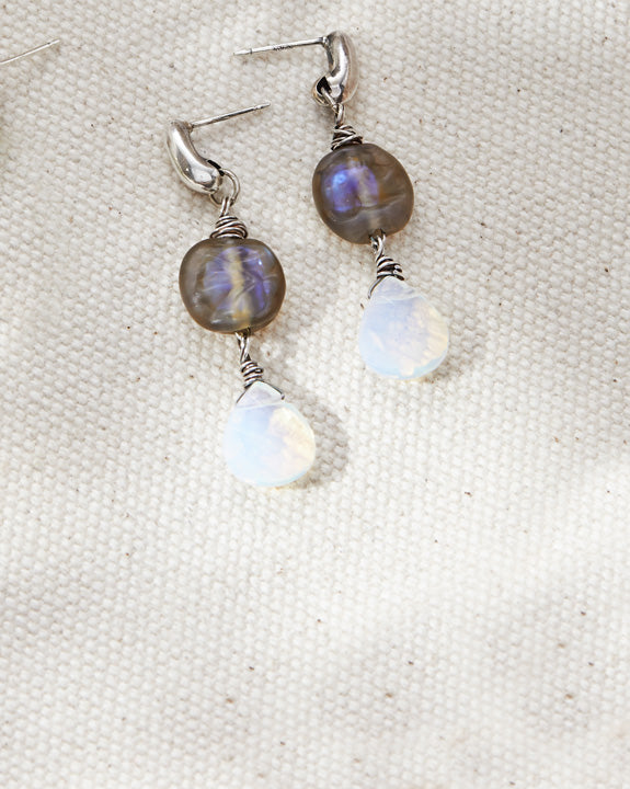 Labradorite Moon phase Earrings - Lamp work glass, sterling silver