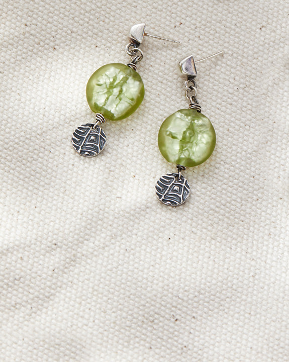 Peridot Pattern Drops - Lamp work glass, oxidized sterling silver