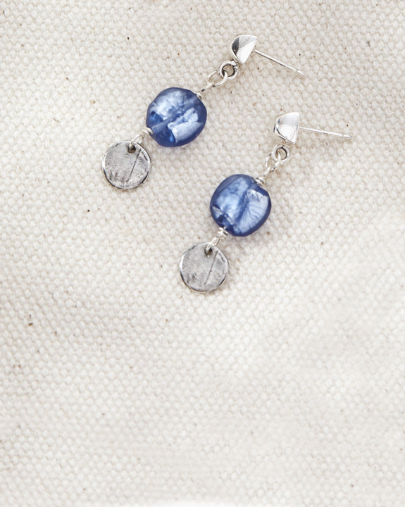 Cobalt Opal Confetti Drops - Lamp work glass, sterling silver