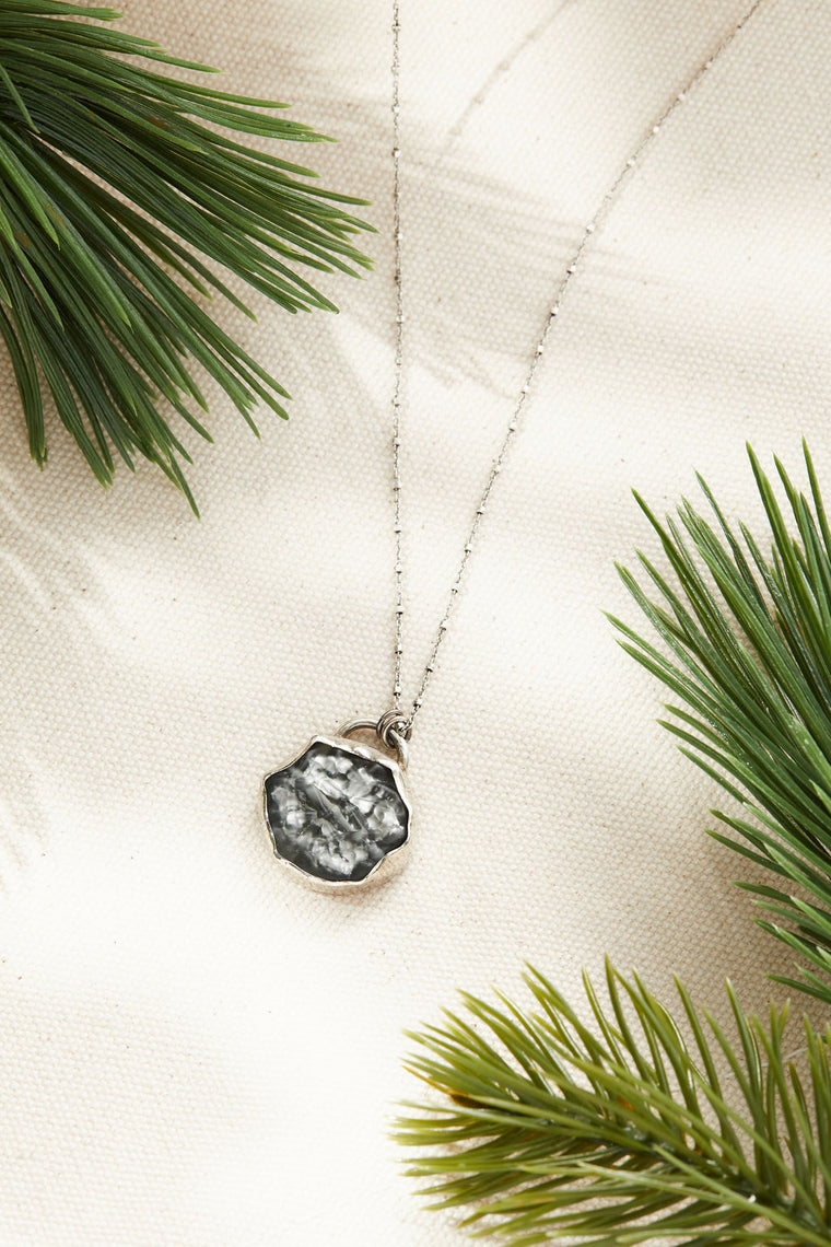 Black diamond Pendant Necklace - Sterling silver, lamp work glass