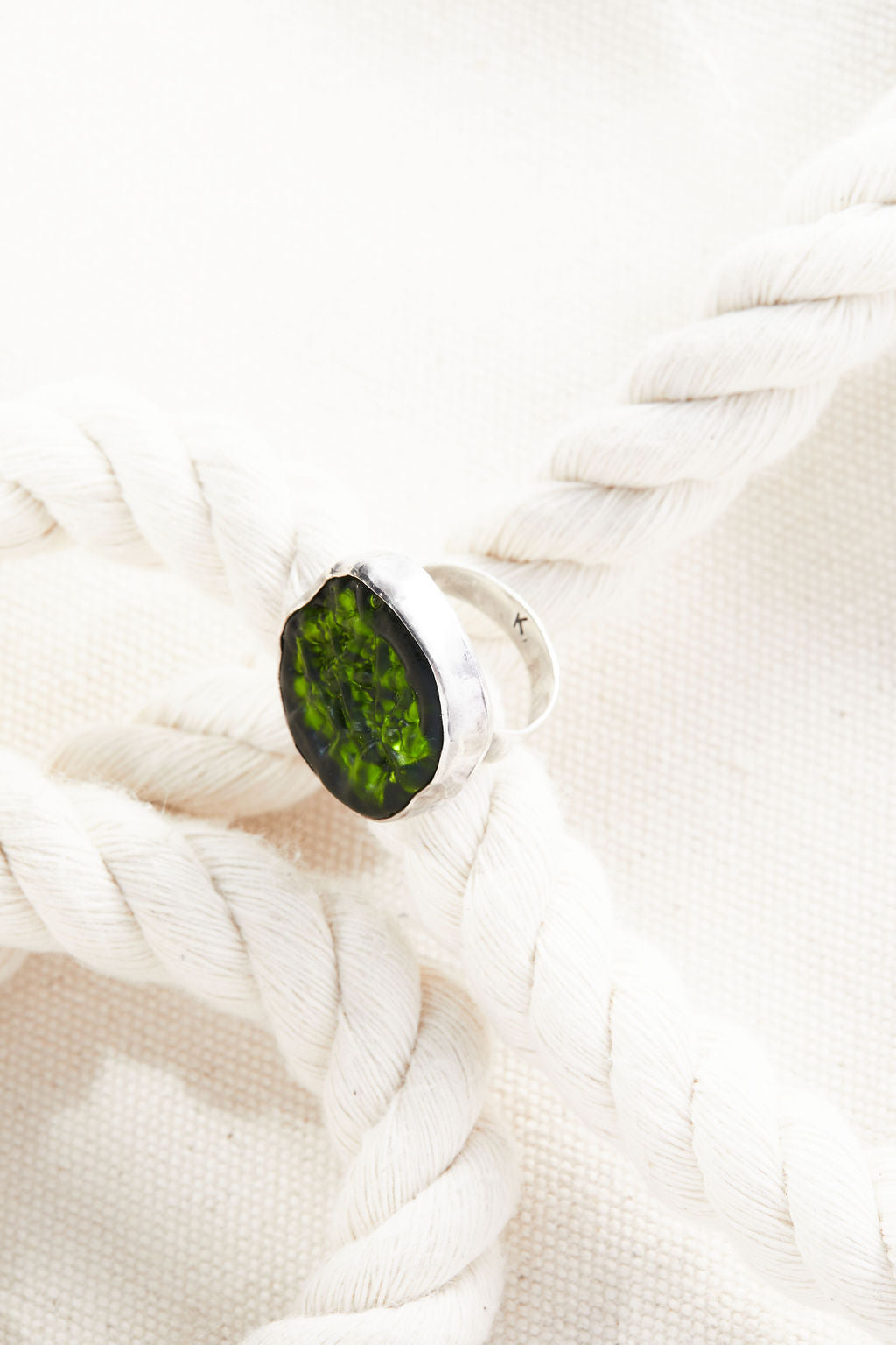 Olivine Cocktail Ring -  Lamp work glass, sterling silver