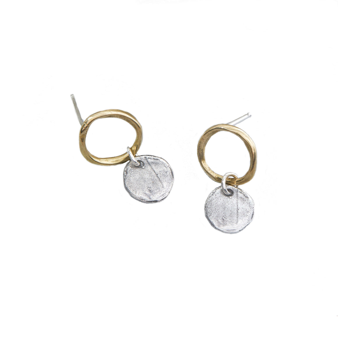 Moon Drop Earrings - mixed metal drops
