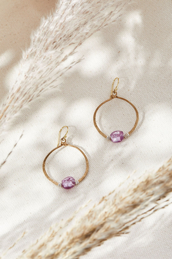 Amethyst Hoops - Lamp work glass, bronze