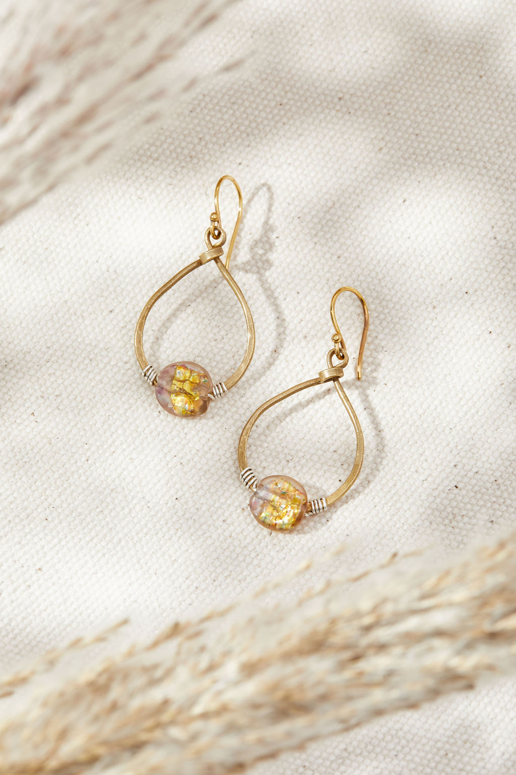 Fire Opal Small Teardrop Hoops - Lamp work glass, bronze