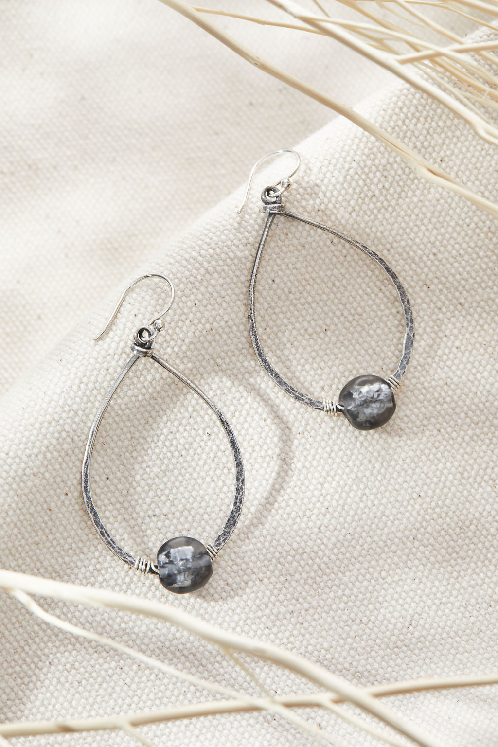 Black Diamond Teardrop Hoops -  Lamp work glass, sterling silver