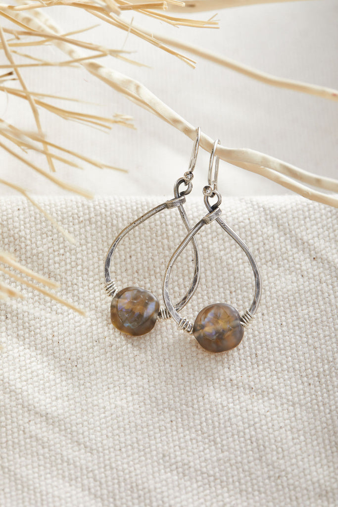 Labradorite Small Teardrop Hoops -  Lamp work glass, sterling silver