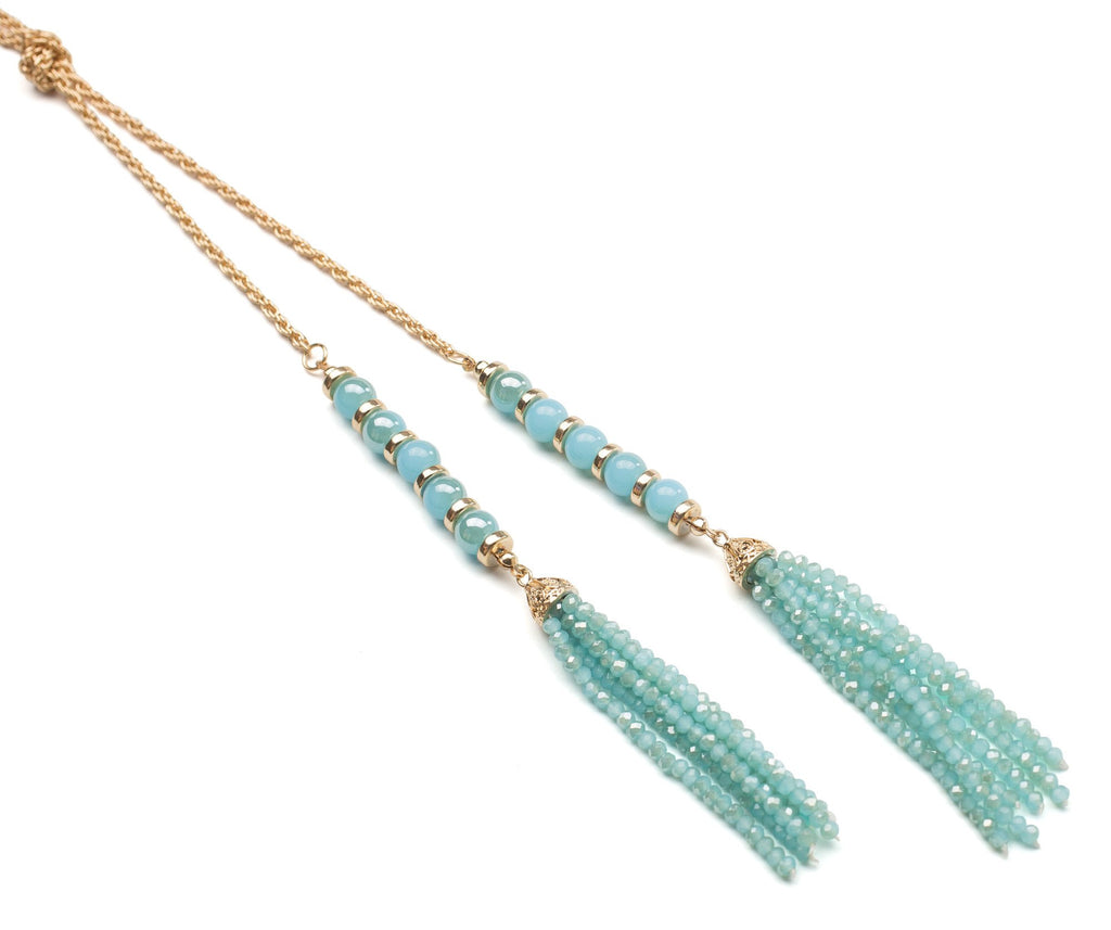 Turquoise Beaded Tassel Necklace-Lemon Honey Jewelry