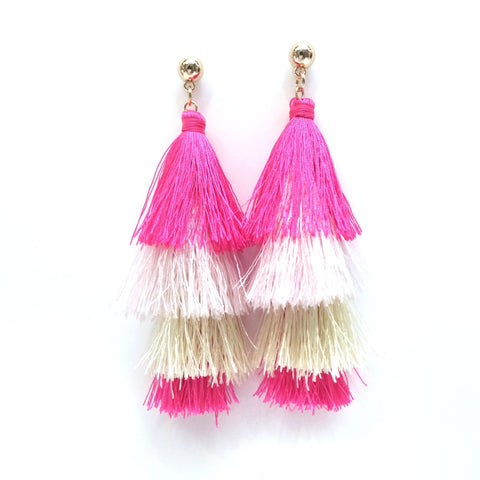 Pink Fringe Tassel Earrings-Lemon Honey Jewelry