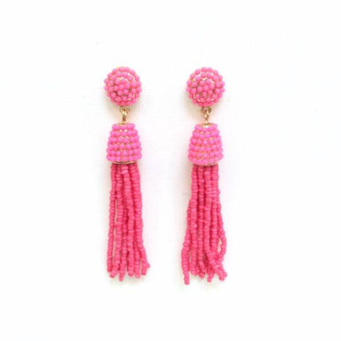 Pink Tassel Earrings-Lemon Honey Jewelry