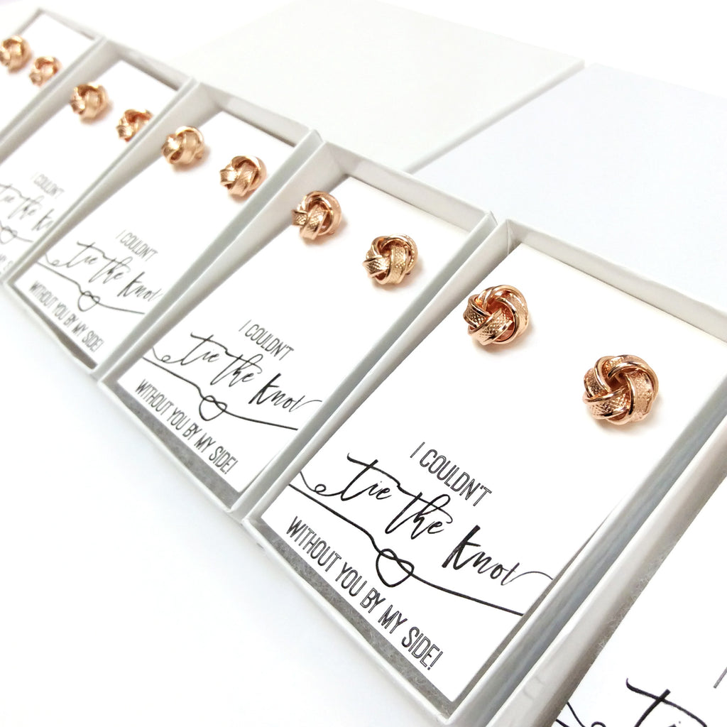 Rose Gold Tie the Knot Proposal Earring Sets-Lemon Honey Jewelry