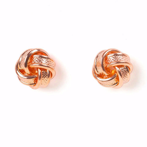 Rose Gold Knot Earrings-Lemon Honey Jewelry