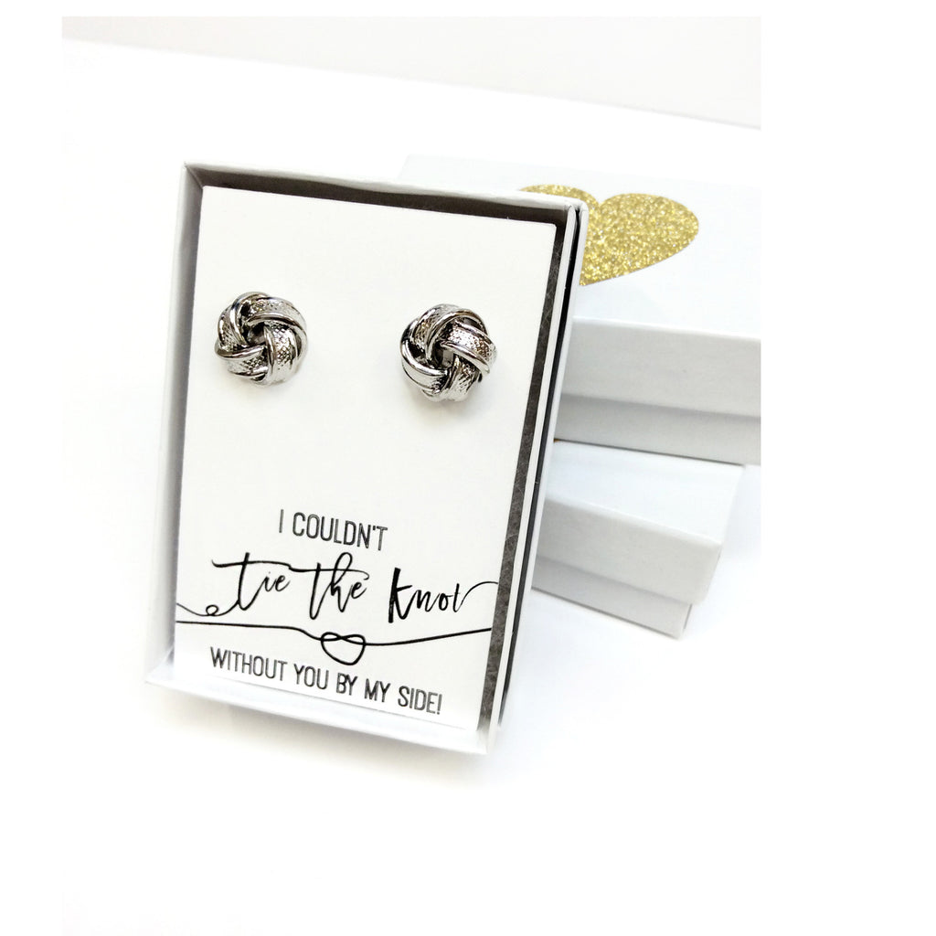 Silver Tie the Knot Earrings-Lemon Honey Jewelry