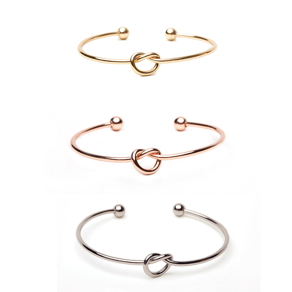 Single Knot Bracelet & Earring Set - Plain