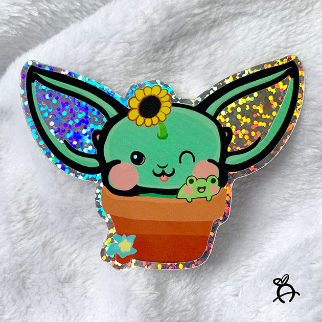 Froggy Planter - Holographic Glitter Sticker