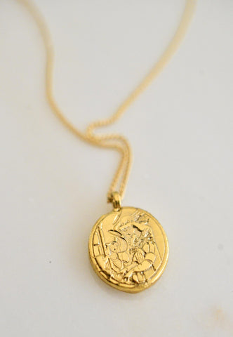 Saint of travels and letter coin necklace