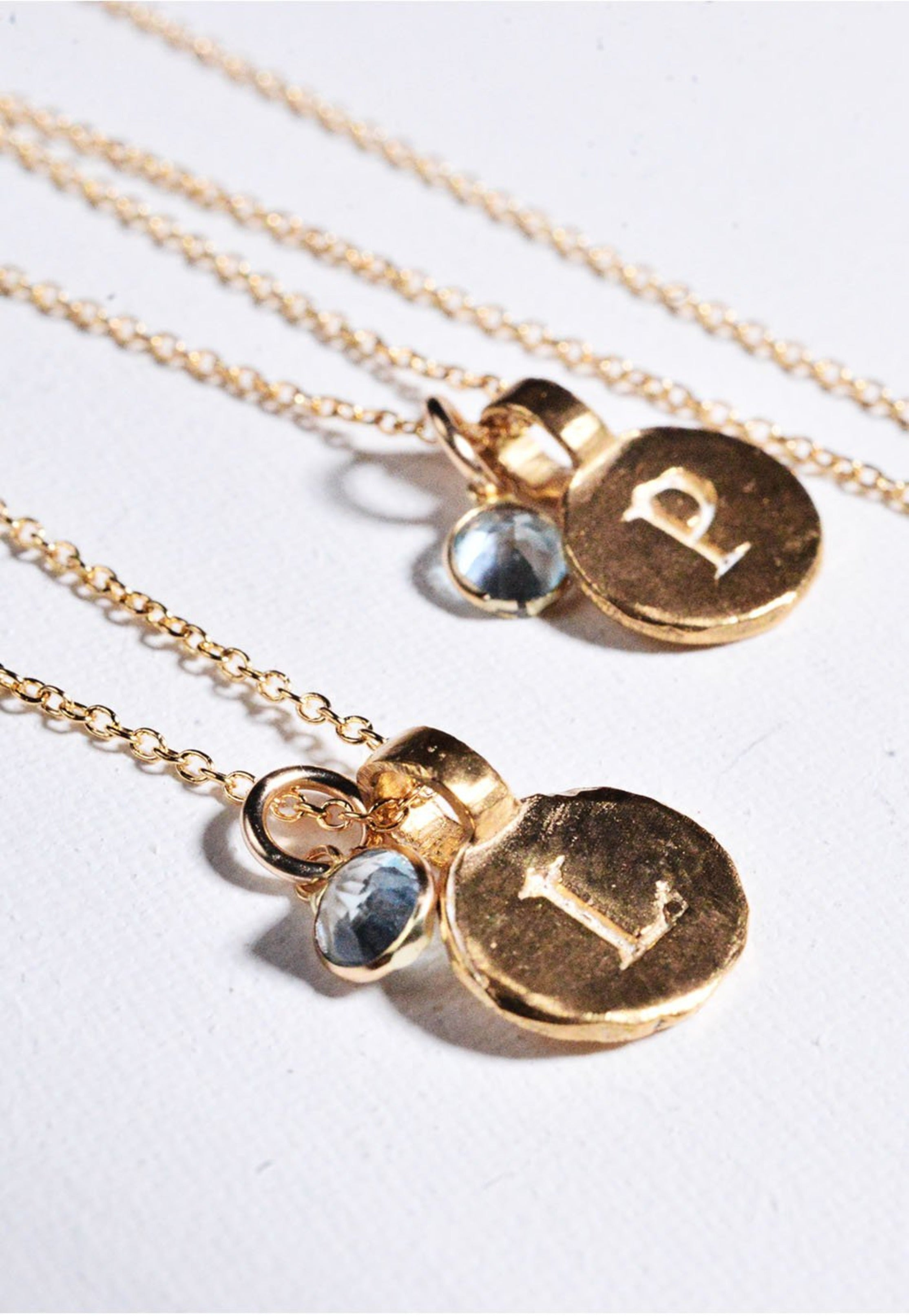 Blue Topaz Initial Necklace