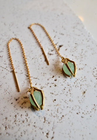 Threaded jade earrings