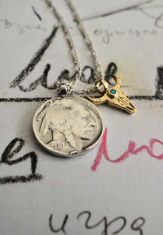 Buffalo coin and toro figaro necklace