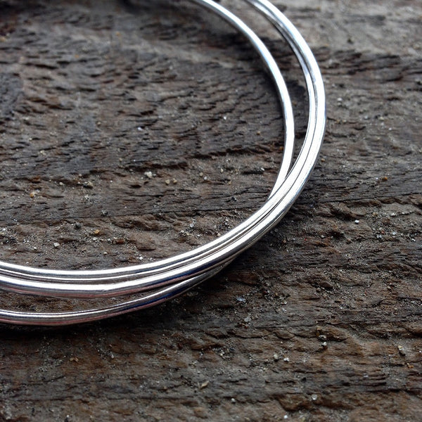 Triple bangle with heart charm