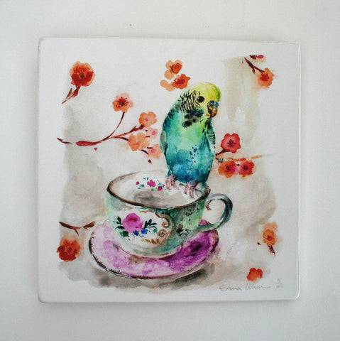 Budgie on a teacup - Limited edition giclee print