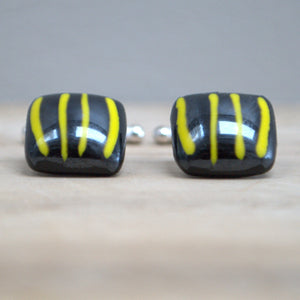 Glass and Silver Cufflinks