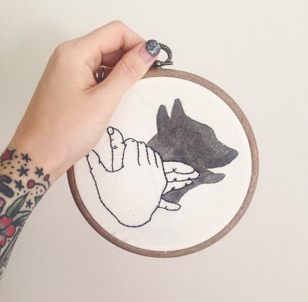 Dog hand shadow puppet - Wall hanging