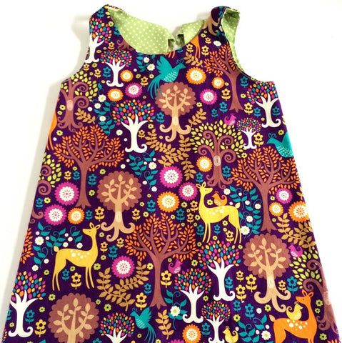 Funky Monkey Smock Dress - Fantasy Forest print
