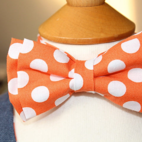 Kid's Bow Tie - Orange & White spot