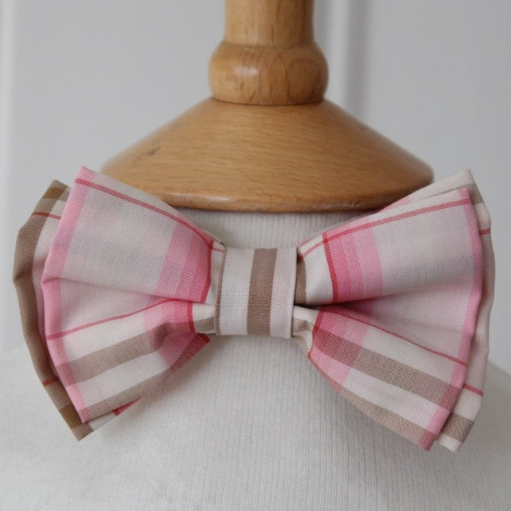 Kid's Bow Tie - Pink & Brown check